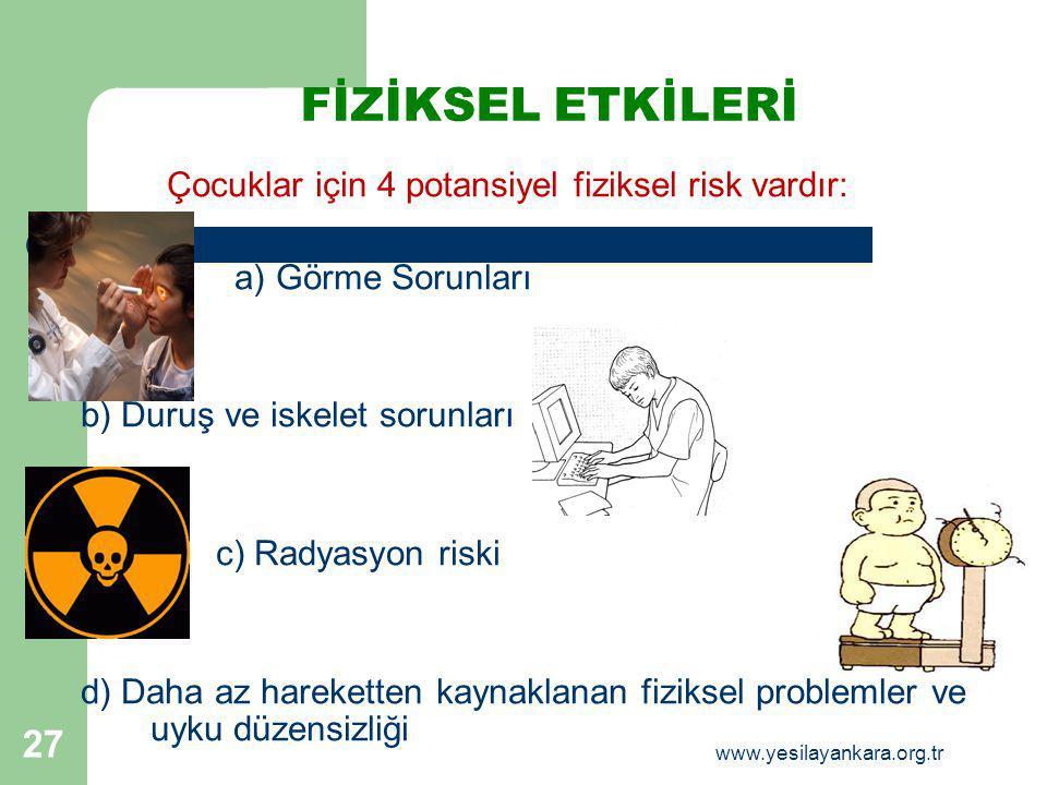 FİZİKSEL ETKİLERİ Çocuklar için 4 potansiyel fiziksel risk vardır: a) Görme Sorunları b) Duruş ve iskelet sorunları c) Radyasyon riski d) Daha az hare