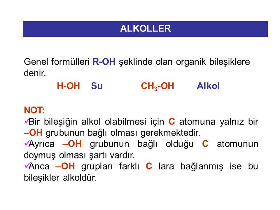 ALKOLLER Genel formülleri R-OH şeklinde olan organik bileşiklere denir. H-OH Su CH 3 -OH Alkol NOT: Bir bileşiğin alkol olabilmesi için C atomuna yaln
