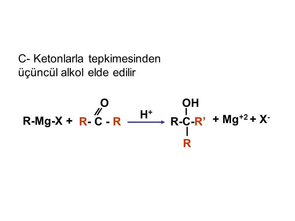 C- Ketonlarla tepkimesinden üçüncül alkol elde edilir + Mg +2 + X - R-Mg-X + R- C - R O R-C-R' OH H+H+ R