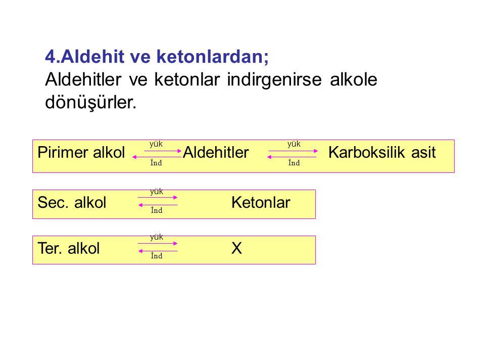 Pirimer alkol AldehitlerKarboksilik asit yük İnd yük İnd Sec. alkol Ketonlar yük İnd Ter. alkol X yük İnd 4.Aldehit ve ketonlardan; Aldehitler ve keto