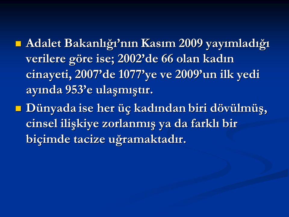 Adalet Bakanlığı'nın Kasım 2009 yayımladığı verilere göre ise; 2002'de 66 olan kadın cinayeti, 2007'de 1077'ye ve 2009'un ilk yedi ayında 953'e ulaşmıştır.