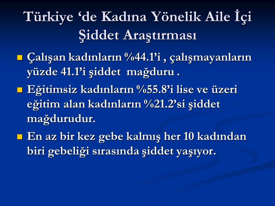 Türkiye 'de Kadına Yönelik Aile İçi Şiddet Araştırması Çalışan kadınların %44.1'i, çalışmayanların yüzde 41.1'i şiddet mağduru.