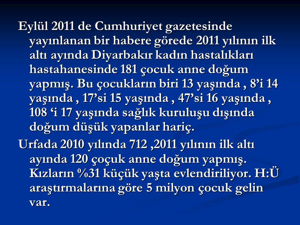 Eylül 2011 de Cumhuriyet gazetesinde yayınlanan bir habere görede 2011 yılının ilk altı ayında Diyarbakır kadın hastalıkları hastahanesinde 181 çocuk anne doğum yapmış.