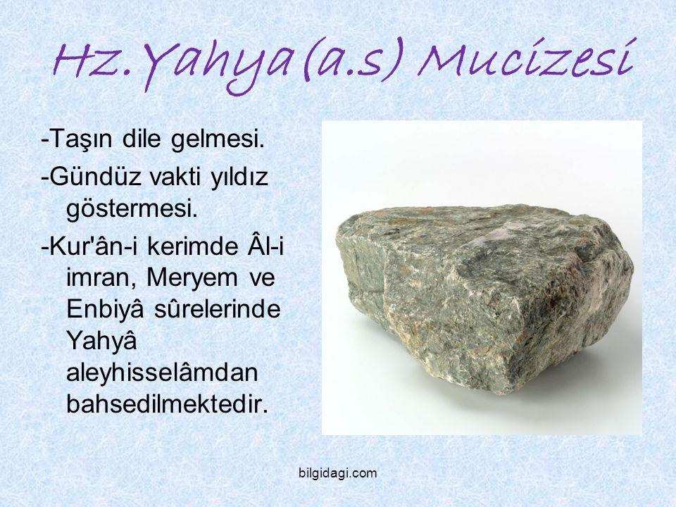 Hz.Yahya(a.s) Mucizesi -Taşın dile gelmesi. -Gündüz vakti yıldız göstermesi. -Kur'ân-i kerimde Âl-i imran, Meryem ve Enbiyâ sûrelerinde Yahyâ aleyhiss