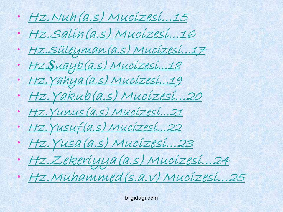 Hz.Nuh(a.s) Mucizesi…15 Hz.Salih(a.s) Mucizesi…16 Hz.Süleyman(a.s) Mucizesi…17 Hz. Ş uayb(a.s) Mucizesi…18Hz. Ş uayb(a.s) Mucizesi…18 Hz.Yahya(a.s) Mu