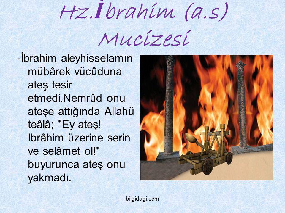 Hz. İ brahim (a.s) Mucizesi -İbrahim aleyhisselamın mübârek vücûduna ateş tesir etmedi.Nemrûd onu ateşe attığında Allahü teâlâ;