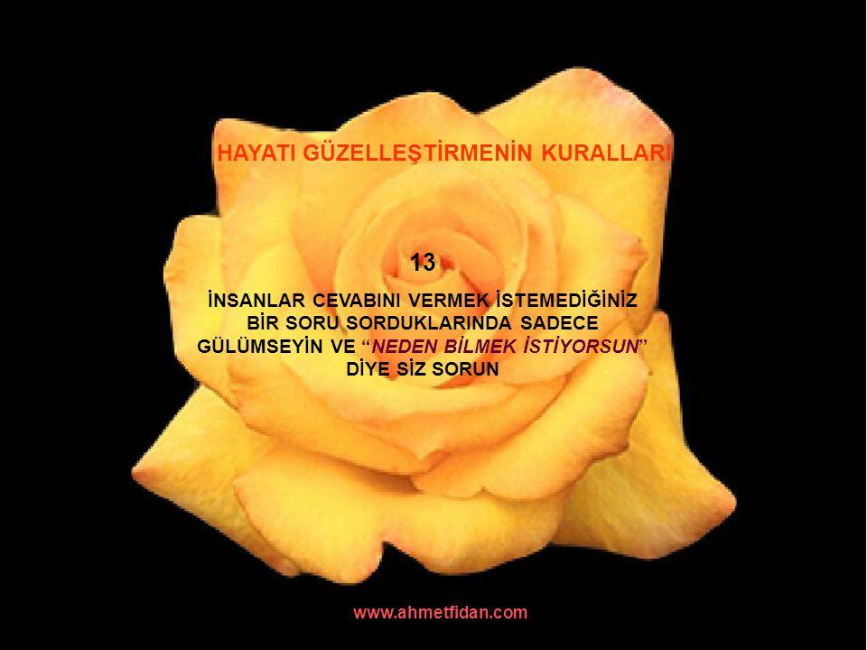 """www.ahmetfidan.com HAYATI GÜZELLEŞTİRMENİN KURALLARI 13 İNSANLAR CEVABINI VERMEK İSTEMEDİĞİNİZ BİR SORU SORDUKLARINDA SADECE GÜLÜMSEYİN VE """"NEDEN BİLM"""