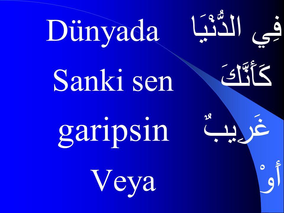 فِي الدُّنْيَا Dünyada كَأَنَّكَ Sanki sen غَرِيبٌ garipsin أَوْ Veya
