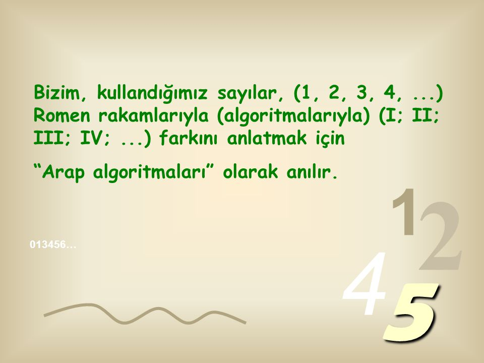 Bizim, kullandığımız sayılar, (1, 2, 3, 4,...) Romen rakamlarıyla (algoritmalarıyla) (I; II; III; IV;...) farkını anlatmak için Arap algoritmaları olarak anılır.