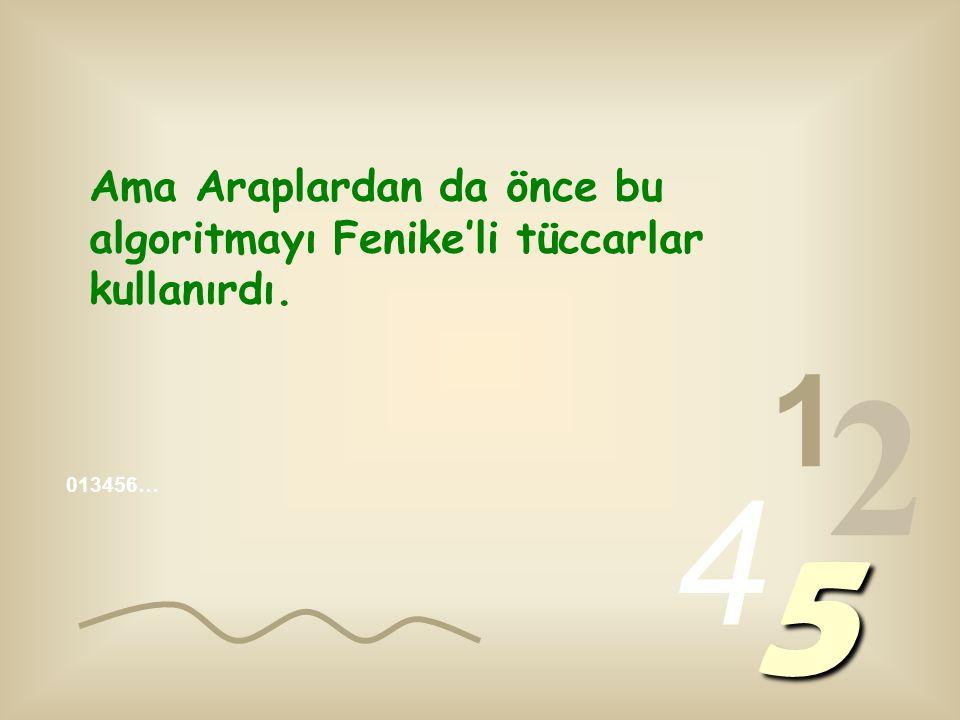1 2 4 5 Ama Araplardan da önce bu algoritmayı Fenike'li tüccarlar kullanırdı.