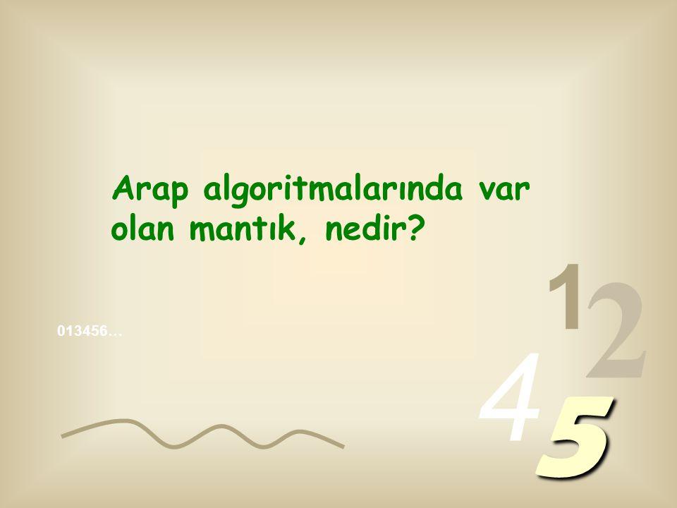 013456… 1 2 4 5 Arap algoritmalarında var olan mantık, nedir?