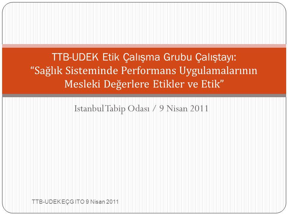 Istanbul Tabip Odası / 9 Nisan 2011 TTB-UDEK EÇG ITO 9 Nisan 2011 TTB-UDEK Etik Çalışma Grubu Çalıştayı: Sağlık Sisteminde Performans Uygulamalarının Mesleki Değerlere Etikler ve Etik