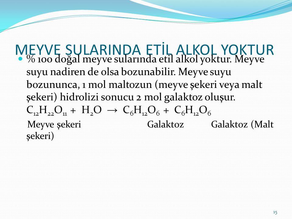 MEYVE SULARINDA ETİL ALKOL YOKTUR % 100 doğal meyve sularında etil alkol yoktur. Meyve suyu nadiren de olsa bozunabilir. Meyve suyu bozununca, 1 mol m