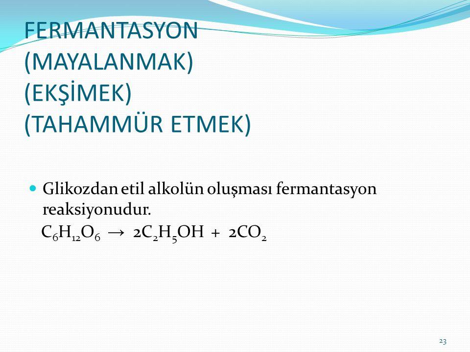 FERMANTASYON (MAYALANMAK) (EKŞİMEK) (TAHAMMÜR ETMEK) Glikozdan etil alkolün oluşması fermantasyon reaksiyonudur. C 6 H 12 O 6 → 2C 2 H 5 OH + 2CO 2 23