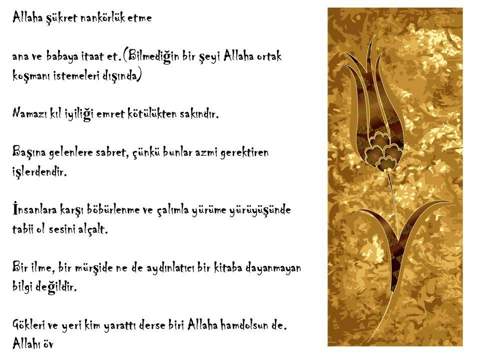 Allaha ş ükret nankörlük etme ana ve babaya itaat et.(Bilmedi ğ in bir ş eyi Allaha ortak ko ş manı istemeleri dı ş ında) Namazı kıl iyili ğ i emret kötülükten sakındır.