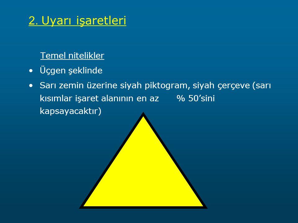 2. Uyarı işaretleri Temel nitelikler Üçgen şeklinde Sarı zemin üzerine siyah piktogram, siyah çerçeve (sarı kısımlar işaret alanının en az % 50'sini k