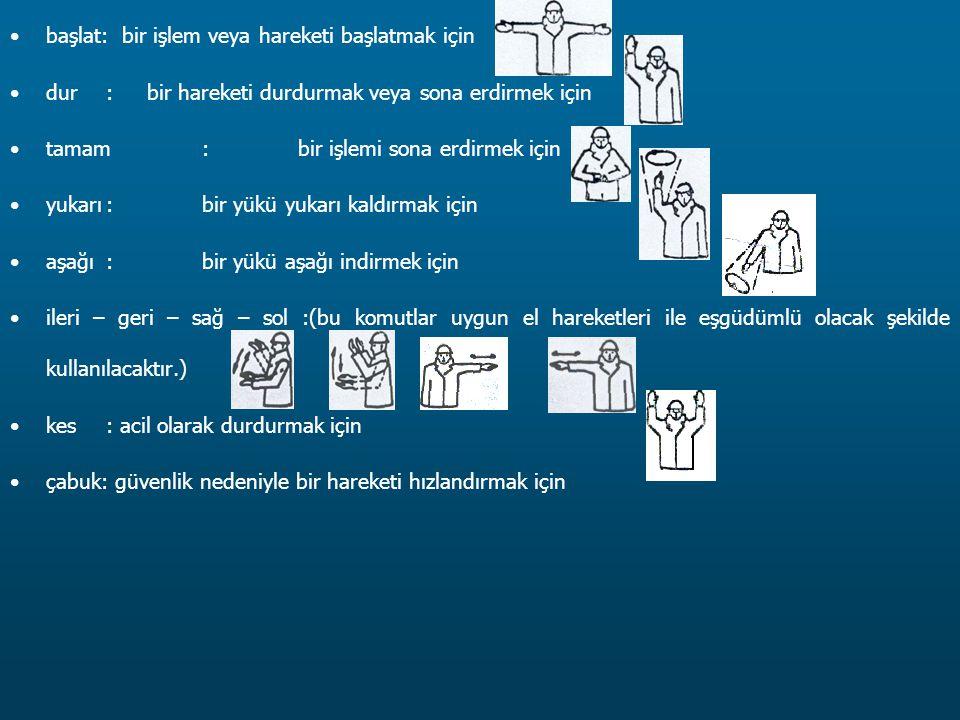 başlat: bir işlem veya hareketi başlatmak için dur: bir hareketi durdurmak veya sona erdirmek için tamam:bir işlemi sona erdirmek için yukarı:bir yükü