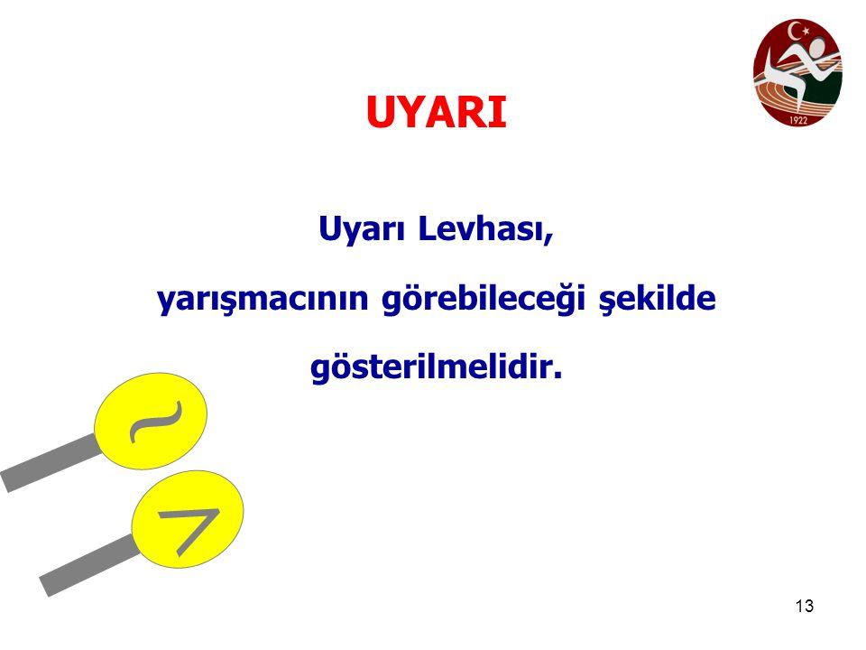 13 UYARI Uyarı Levhası, yarışmacının görebileceği şekilde gösterilmelidir. ~ >