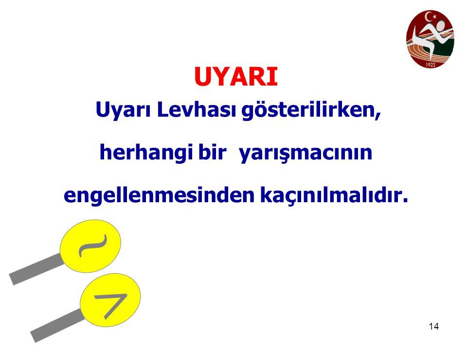 14 UYARI Uyarı Levhası gösterilirken, herhangi bir yarışmacının engellenmesinden kaçınılmalıdır. ~ >