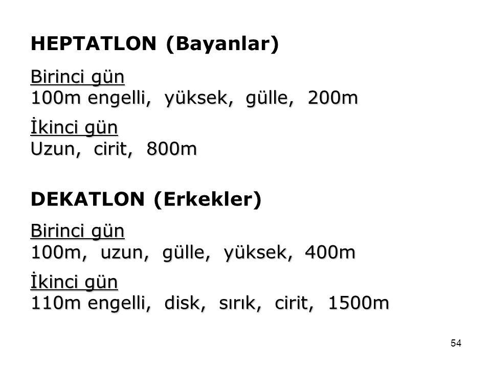 54 HEPTATLON (Bayanlar) Birinci gün 100m engelli, yüksek, gülle, 200m İkinci gün Uzun, cirit, 800m DEKATLON (Erkekler) Birinci gün 100m, uzun, gülle,
