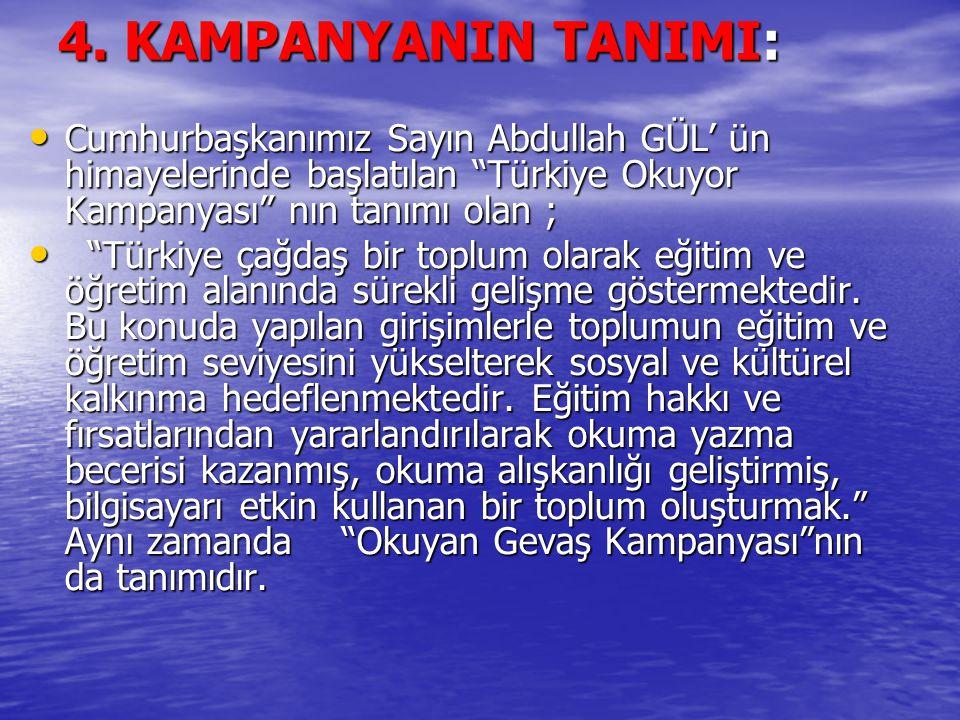 """4. KAMPANYANIN TANIMI: Cumhurbaşkanımız Sayın Abdullah GÜL' ün himayelerinde başlatılan """"Türkiye Okuyor Kampanyası"""" nın tanımı olan ; Cumhurbaşkanımız"""