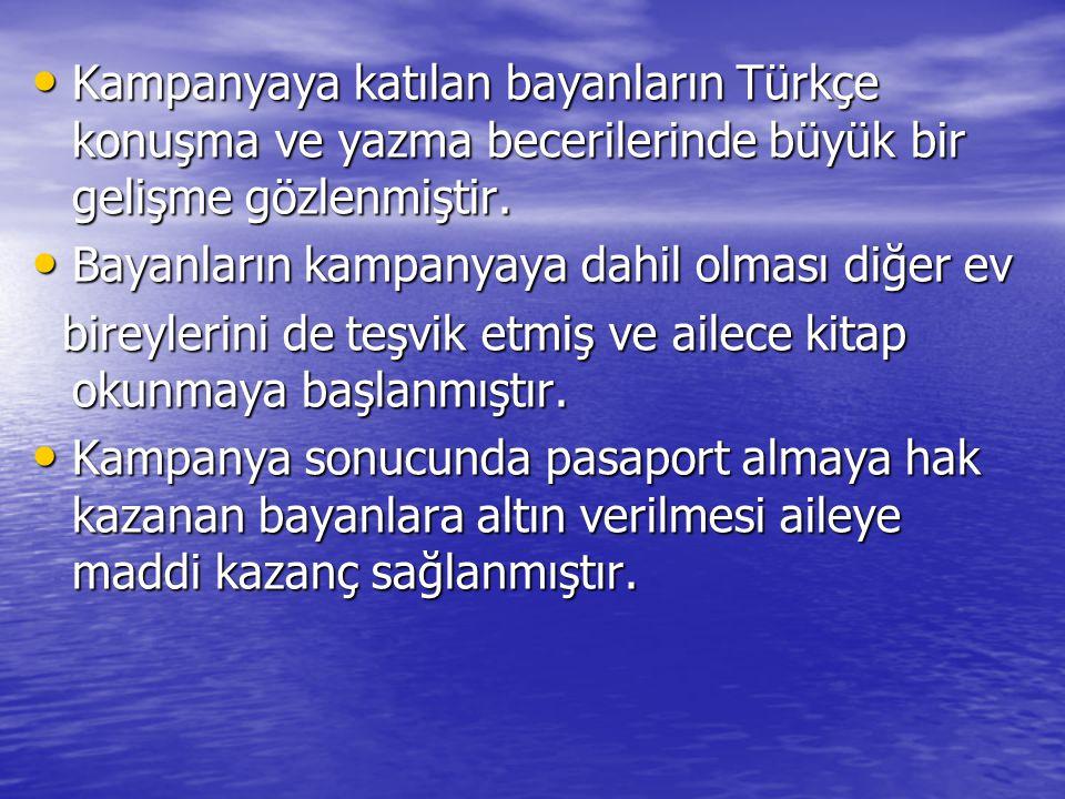 Kampanyaya katılan bayanların Türkçe konuşma ve yazma becerilerinde büyük bir gelişme gözlenmiştir. Kampanyaya katılan bayanların Türkçe konuşma ve ya