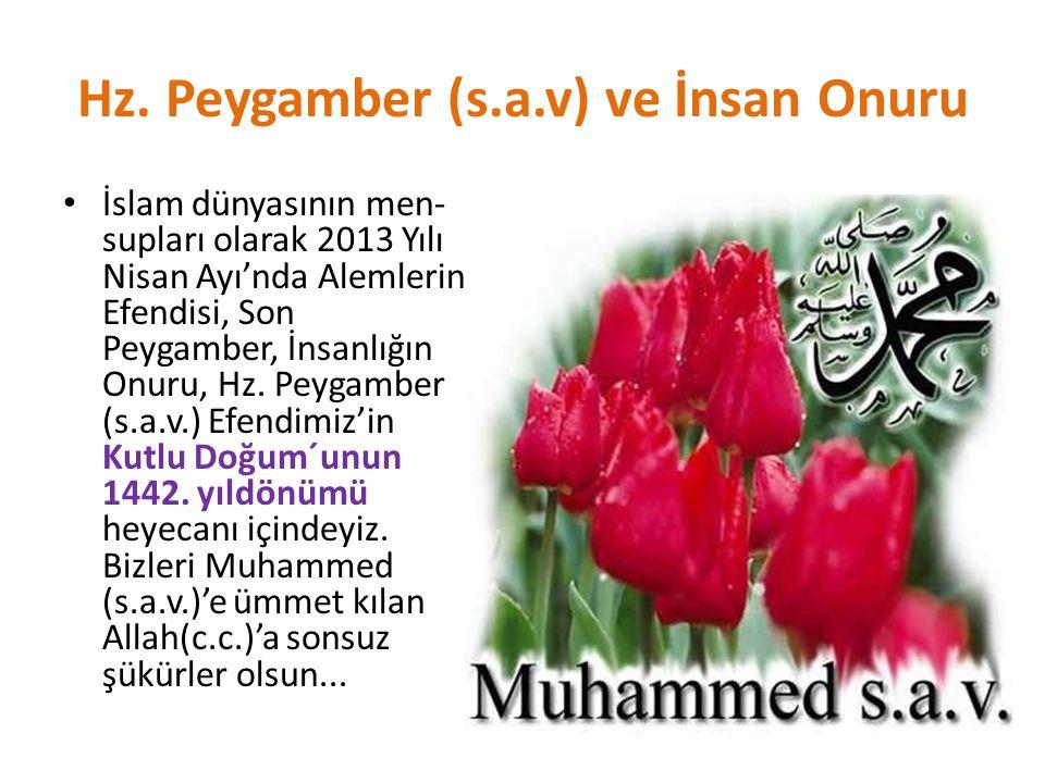Hz. Peygamber (s.a.v) ve İnsan Onuru İslam dünyasının men- supları olarak 2013 Yılı Nisan Ayı'nda Alemlerin Efendisi, Son Peygamber, İnsanlığın Onuru,