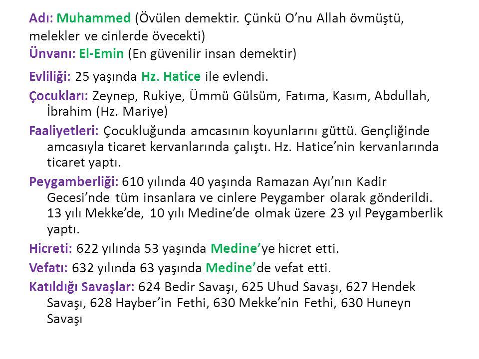 Adı: Muhammed (Övülen demektir.