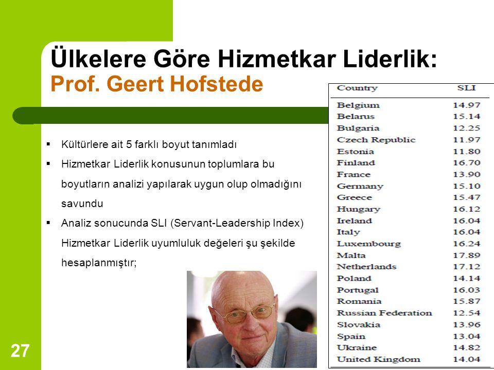 27 Ülkelere Göre Hizmetkar Liderlik: Prof.