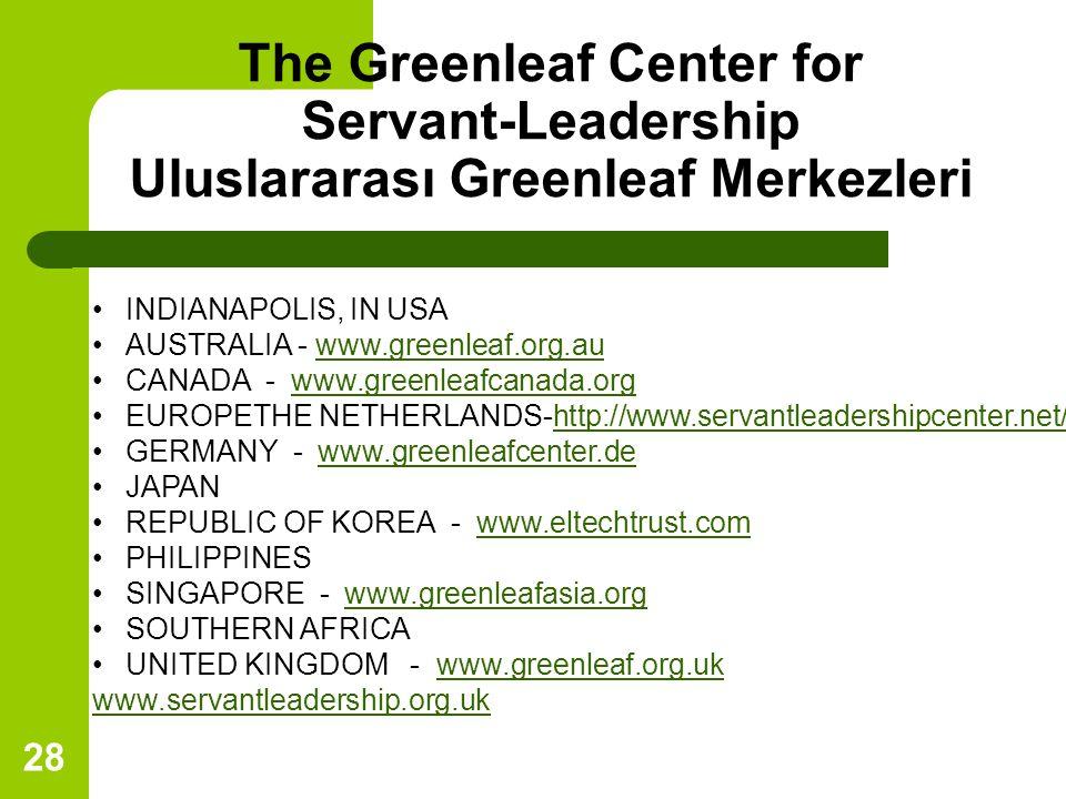 28 The Greenleaf Center for Servant-Leadership Uluslararası Greenleaf Merkezleri INDIANAPOLIS, IN USA AUSTRALIA - www.greenleaf.org.auwww.greenleaf.org.au CANADA - www.greenleafcanada.orgwww.greenleafcanada.org EUROPETHE NETHERLANDS-http://www.servantleadershipcenter.net/http://www.servantleadershipcenter.net/ GERMANY - www.greenleafcenter.dewww.greenleafcenter.de JAPAN REPUBLIC OF KOREA - www.eltechtrust.comwww.eltechtrust.com PHILIPPINES SINGAPORE - www.greenleafasia.orgwww.greenleafasia.org SOUTHERN AFRICA UNITED KINGDOM - www.greenleaf.org.ukwww.greenleaf.org.uk www.servantleadership.org.uk