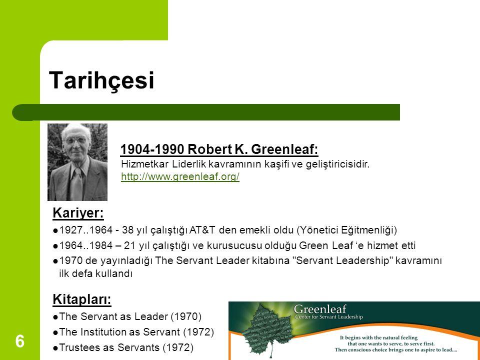 6 Tarihçesi Kariyer: 1927..1964 - 38 yıl çalıştığı AT&T den emekli oldu (Yönetici Eğitmenliği) 1964..1984 – 21 yıl çalıştığı ve kurusucusu olduğu Green Leaf 'e hizmet etti 1970 de yayınladığı The Servant Leader kitabına Servant Leadership kavramını ilk defa kullandı Kitapları: The Servant as Leader (1970) The Institution as Servant (1972) Trustees as Servants (1972) 1904-1990 Robert K.