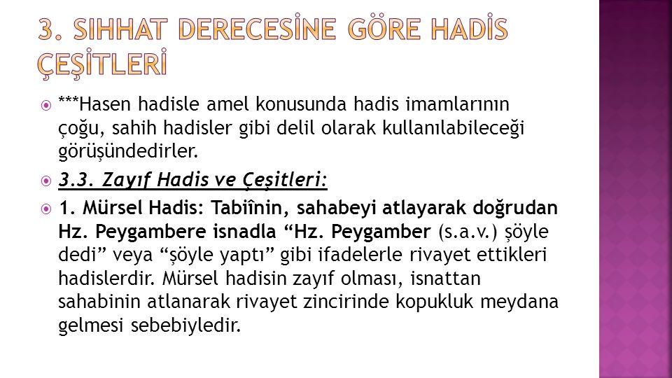  ***Hasen hadisle amel konusunda hadis imamlarının çoğu, sahih hadisler gibi delil olarak kullanılabileceği görüşündedirler.