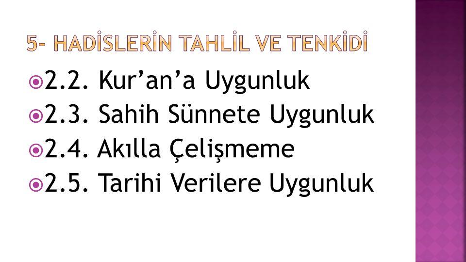  2.2. Kur'an'a Uygunluk  2.3. Sahih Sünnete Uygunluk  2.4.