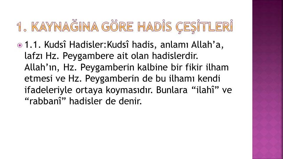  1.1.Kudsî Hadisler:Kudsî hadis, anlamı Allah'a, lafzı Hz.