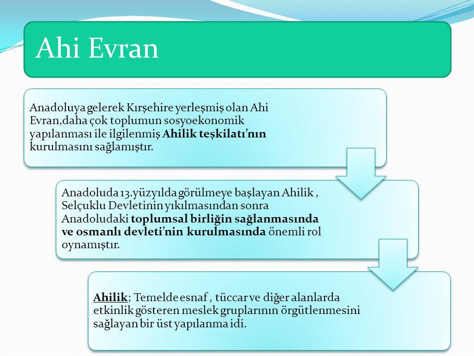 Ahi Evran Anadoluya gelerek Kırşehire yerleşmiş olan Ahi Evran,daha çok toplumun sosyoekonomik yapılanması ile ilgilenmiş Ahilik teşkilatı'nın kurulmasını sağlamıştır.