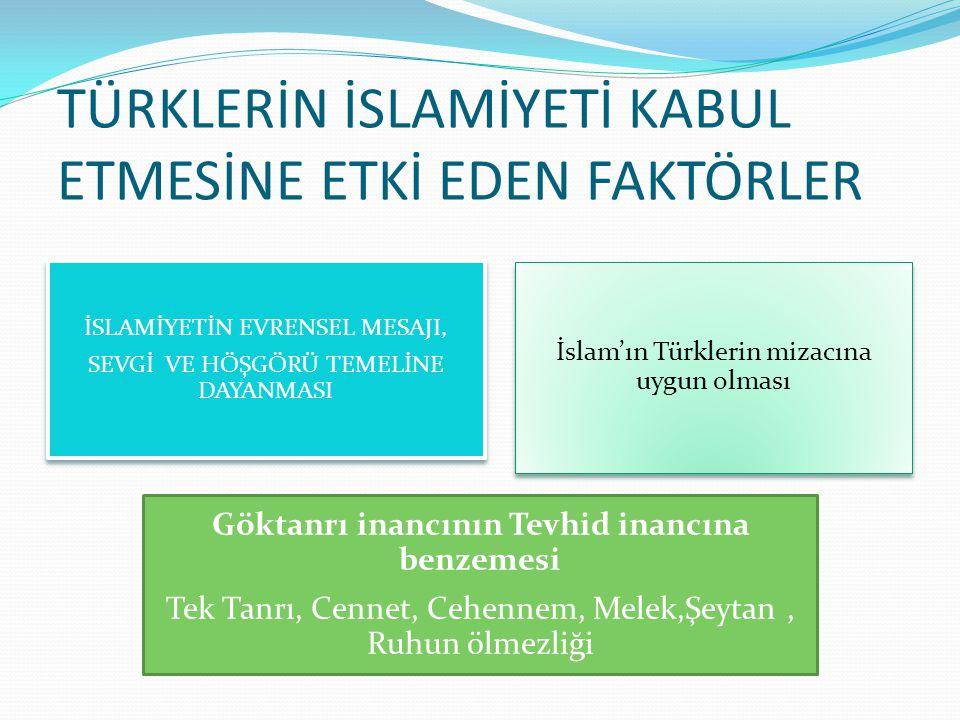 TÜRKLERİN İSLAMİYETİ KABUL ETMESİNE ETKİ EDEN FAKTÖRLER İSLAMİYETİN EVRENSEL MESAJI, SEVGİ VE HÖŞGÖRÜ TEMELİNE DAYANMASI İslam'ın Türklerin mizacına uygun olması Göktanrı inancının Tevhid inancına benzemesi Tek Tanrı, Cennet, Cehennem, Melek,Şeytan, Ruhun ölmezliği