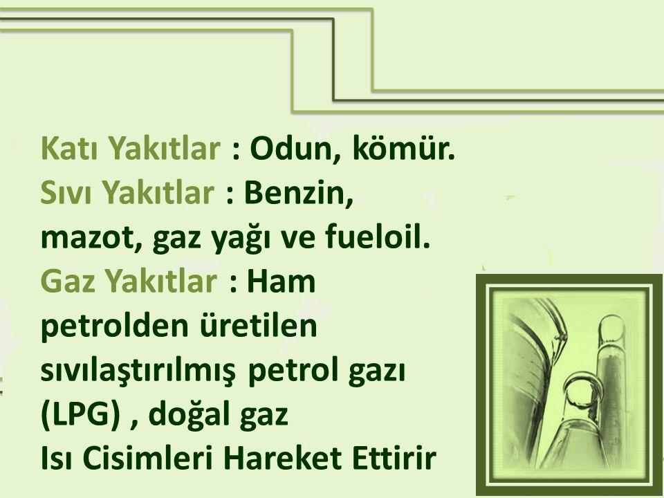 Katı Yakıtlar : Odun, kömür. Sıvı Yakıtlar : Benzin, mazot, gaz yağı ve fueloil. Gaz Yakıtlar : Ham petrolden üretilen sıvılaştırılmış petrol gazı (LP