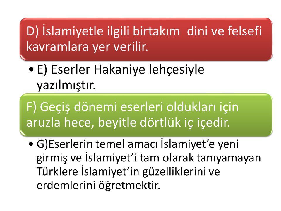 İslami devir Türk edebiyatının ilk ürünleri XI ve XII.