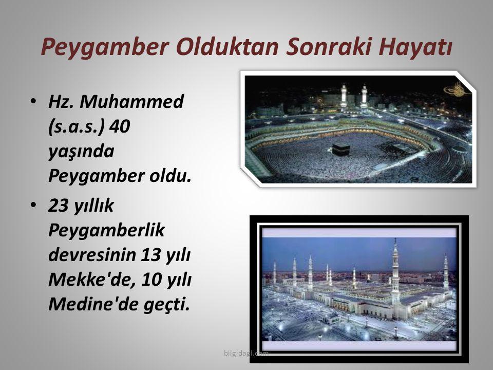 Peygamber Olduktan Sonraki Hayatı Hz. Muhammed (s.a.s.) 40 yaşında Peygamber oldu. 23 yıllık Peygamberlik devresinin 13 yılı Mekke'de, 10 yılı Medine'