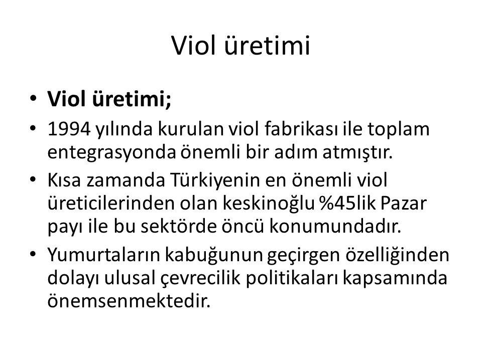 Viol üretimi Viol üretimi; 1994 yılında kurulan viol fabrikası ile toplam entegrasyonda önemli bir adım atmıştır. Kısa zamanda Türkiyenin en önemli vi
