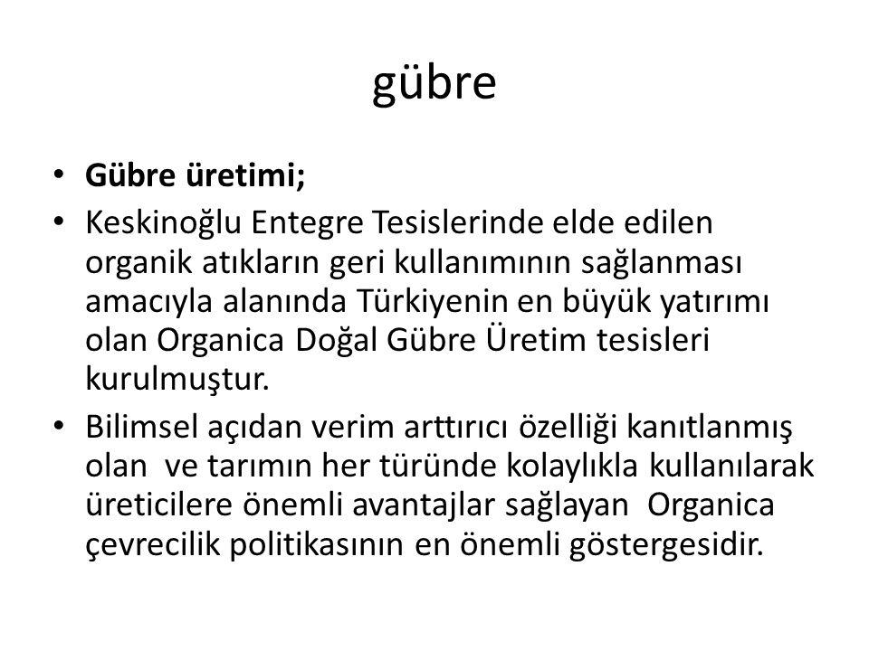 gübre Gübre üretimi; Keskinoğlu Entegre Tesislerinde elde edilen organik atıkların geri kullanımının sağlanması amacıyla alanında Türkiyenin en büyük