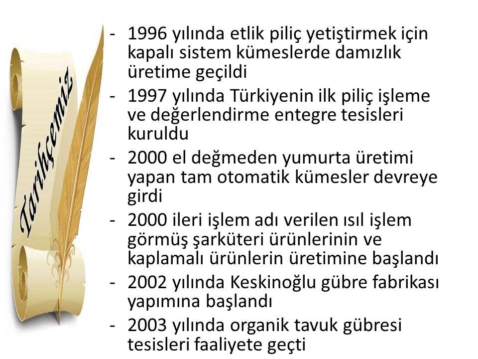 -1996 yılında etlik piliç yetiştirmek için kapalı sistem kümeslerde damızlık üretime geçildi -1997 yılında Türkiyenin ilk piliç işleme ve değerlendirm