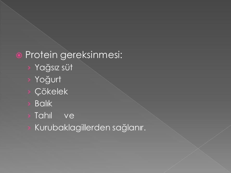  Protein gereksinmesi: › Yağsız süt › Yoğurt › Çökelek › Balık › Tahıl ve › Kurubaklagillerden sağlanır.