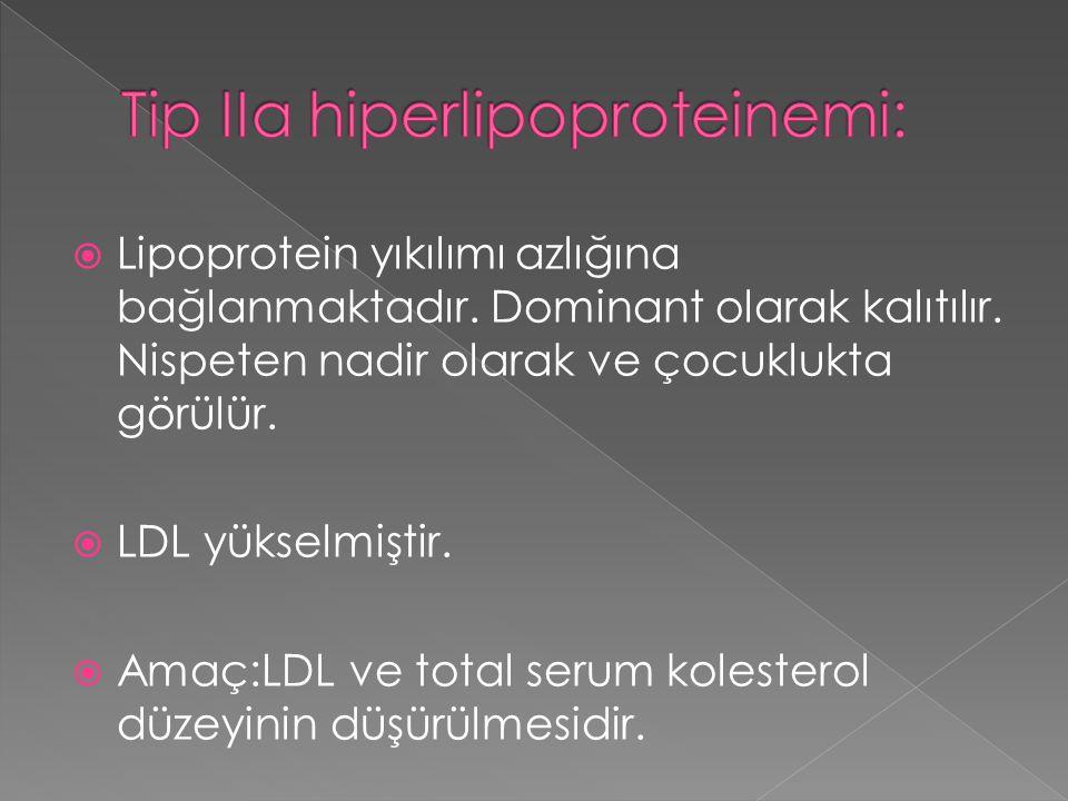  Lipoprotein yıkılımı azlığına bağlanmaktadır. Dominant olarak kalıtılır. Nispeten nadir olarak ve çocuklukta görülür.  LDL yükselmiştir.  Amaç:LDL