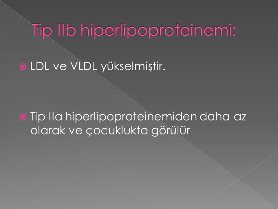  LDL ve VLDL yükselmiştir.  Tip IIa hiperlipoproteinemiden daha az olarak ve çocuklukta görülür
