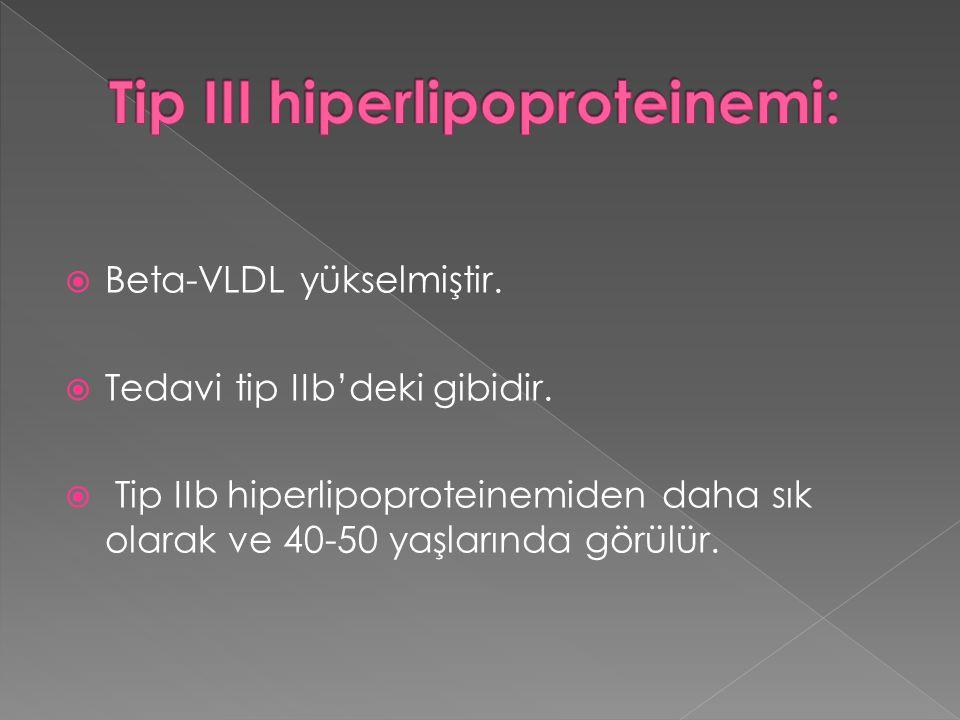  Beta-VLDL yükselmiştir.  Tedavi tip IIb'deki gibidir.  Tip IIb hiperlipoproteinemiden daha sık olarak ve 40-50 yaşlarında görülür.