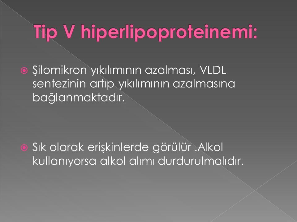  Şilomikron yıkılımının azalması, VLDL sentezinin artıp yıkılımının azalmasına bağlanmaktadır.  Sık olarak erişkinlerde görülür.Alkol kullanıyorsa a