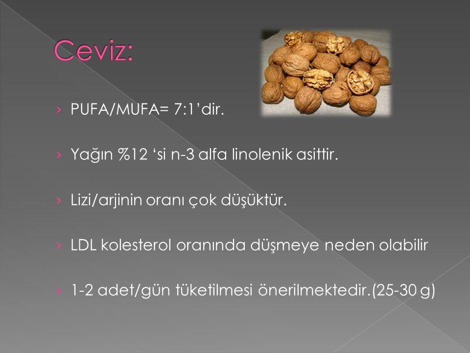 › PUFA/MUFA= 7:1'dir. › Yağın %12 'si n-3 alfa linolenik asittir. › Lizi/arjinin oranı çok düşüktür. › LDL kolesterol oranında düşmeye neden olabilir