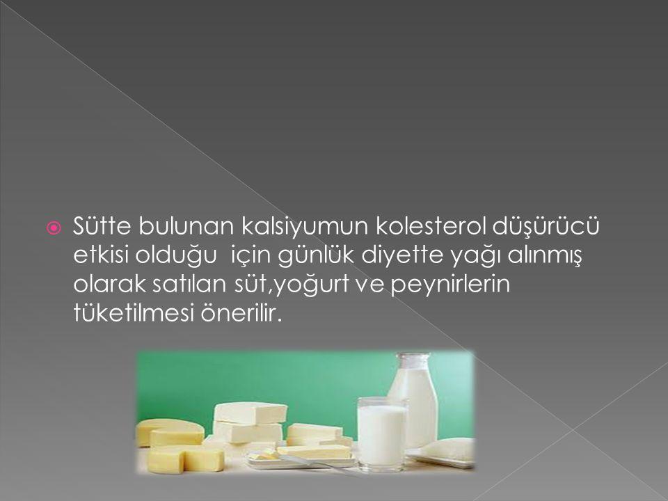  Sütte bulunan kalsiyumun kolesterol düşürücü etkisi olduğu için günlük diyette yağı alınmış olarak satılan süt,yoğurt ve peynirlerin tüketilmesi önerilir.