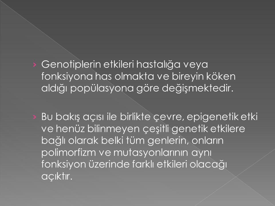 › Genotiplerin etkileri hastalığa veya fonksiyona has olmakta ve bireyin köken aldığı popülasyona göre değişmektedir. › Bu bakış açısı ile birlikte çe